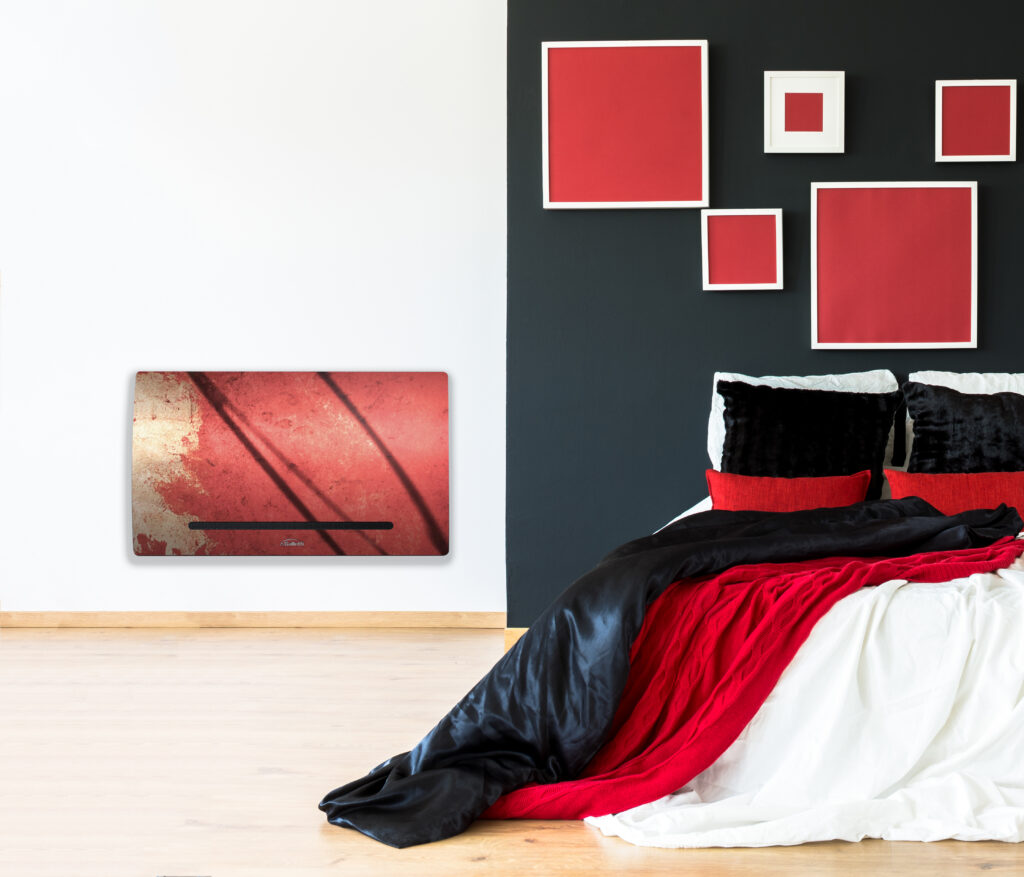 Minimal symmetric bedroom in black and red